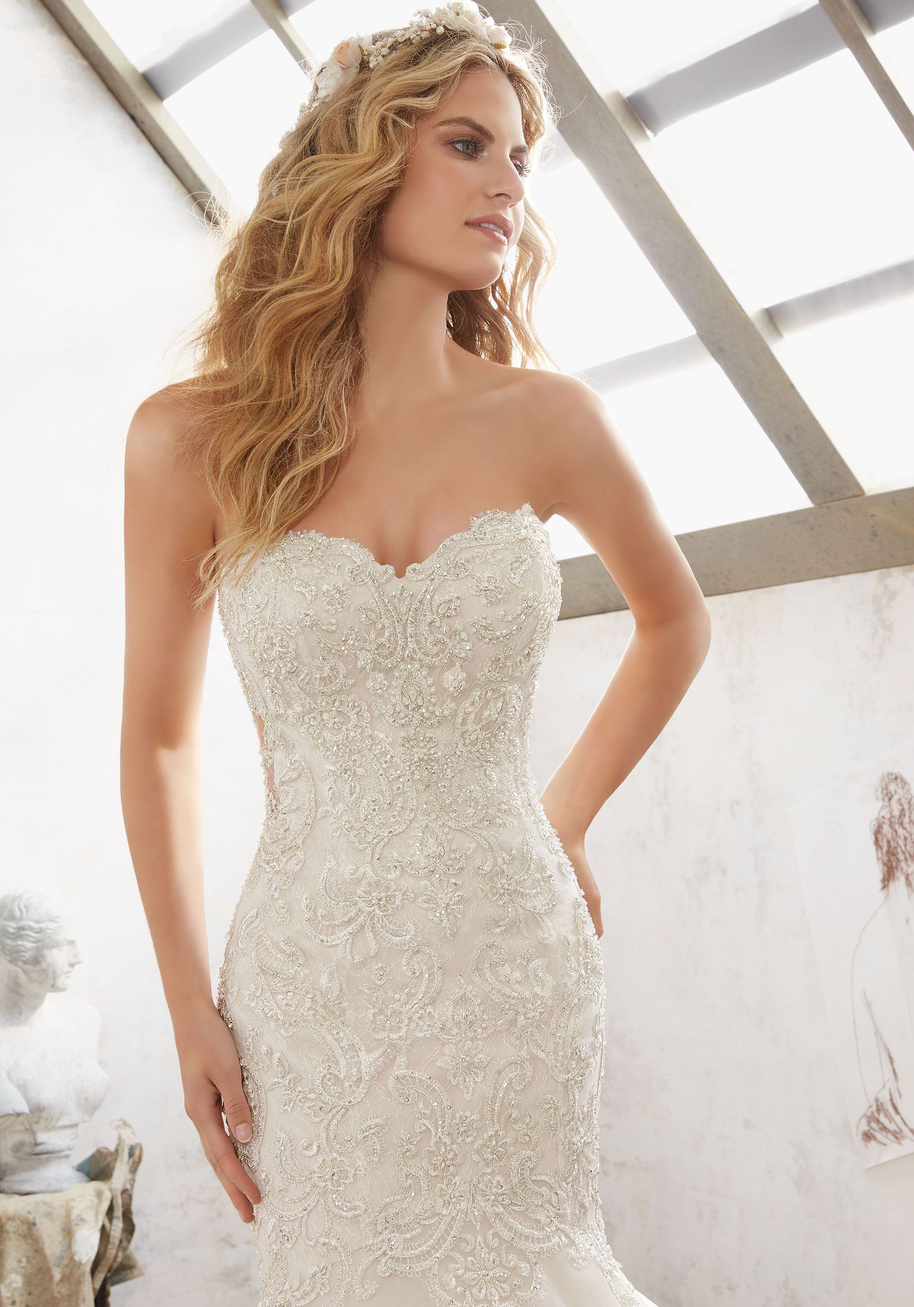 Morilee By Madeline Gardner Margot 8120 Crystal Beaded Embroidery Over Chantil Fit And Flare Wedding Dress Wedding Dresses Strapless Trendy Wedding Dresses [ 2620 x 1834 Pixel ]