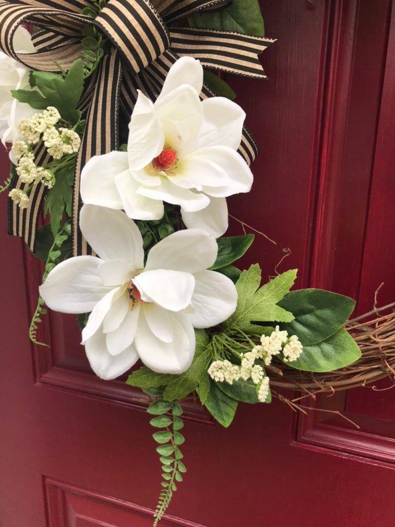 Photo of Farmhouse Magnolia Wreath for Front Door, Farmhouse Decor, Rustic Wreath, Magnolia Wreath, Grapevine Wreath, Everyday Wreath for Front Door