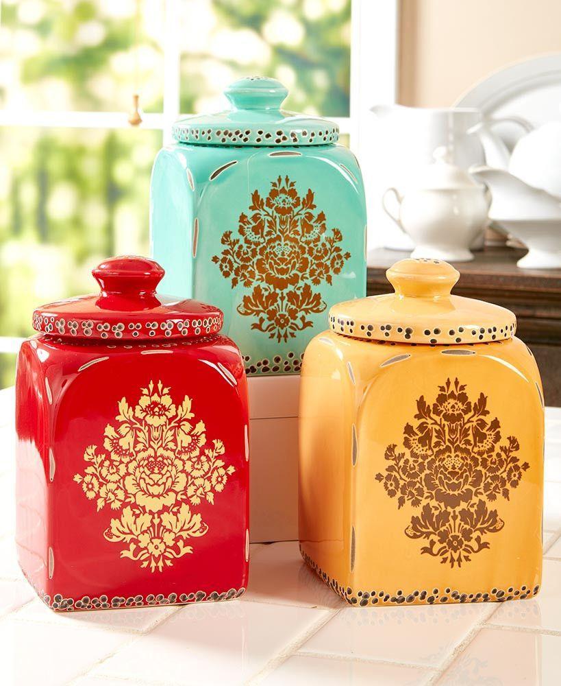 asian inspired kitchen canister set ceramic floral print detail