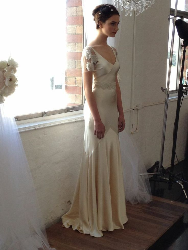 Sophisticated Bias Cut Silk Wedding Gown With Gorgeous Flowing Godet Skirt For A Modern