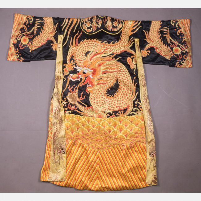 A Chinese Silk Embroidered Dragon Robe, 20th Century : Lot 228A