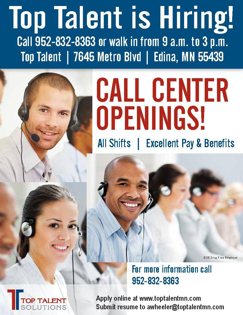 Top talent is hiring call center representatives call