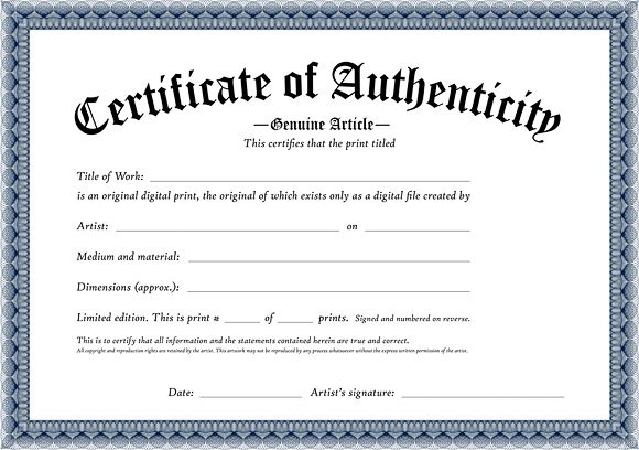 Certificate Of Authenticity Of An Original Digital Print