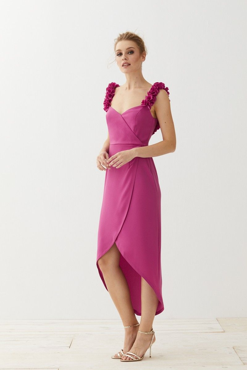 Vestido midi cruzado frambuesa Delphi | Spring summer, Spring and Summer