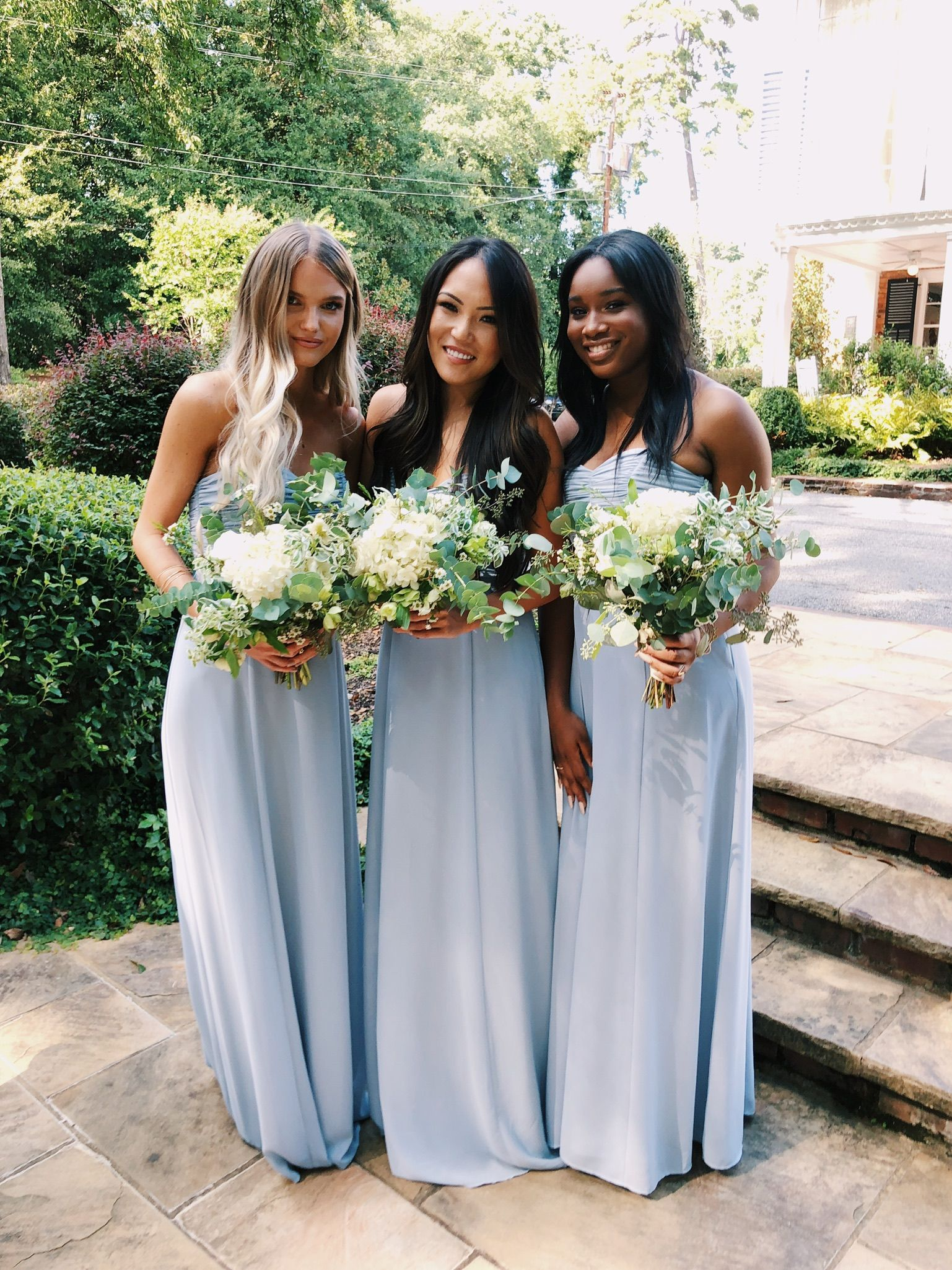 Bonbon Strapless Dress Steel Blue Chiffon Bridesmaid