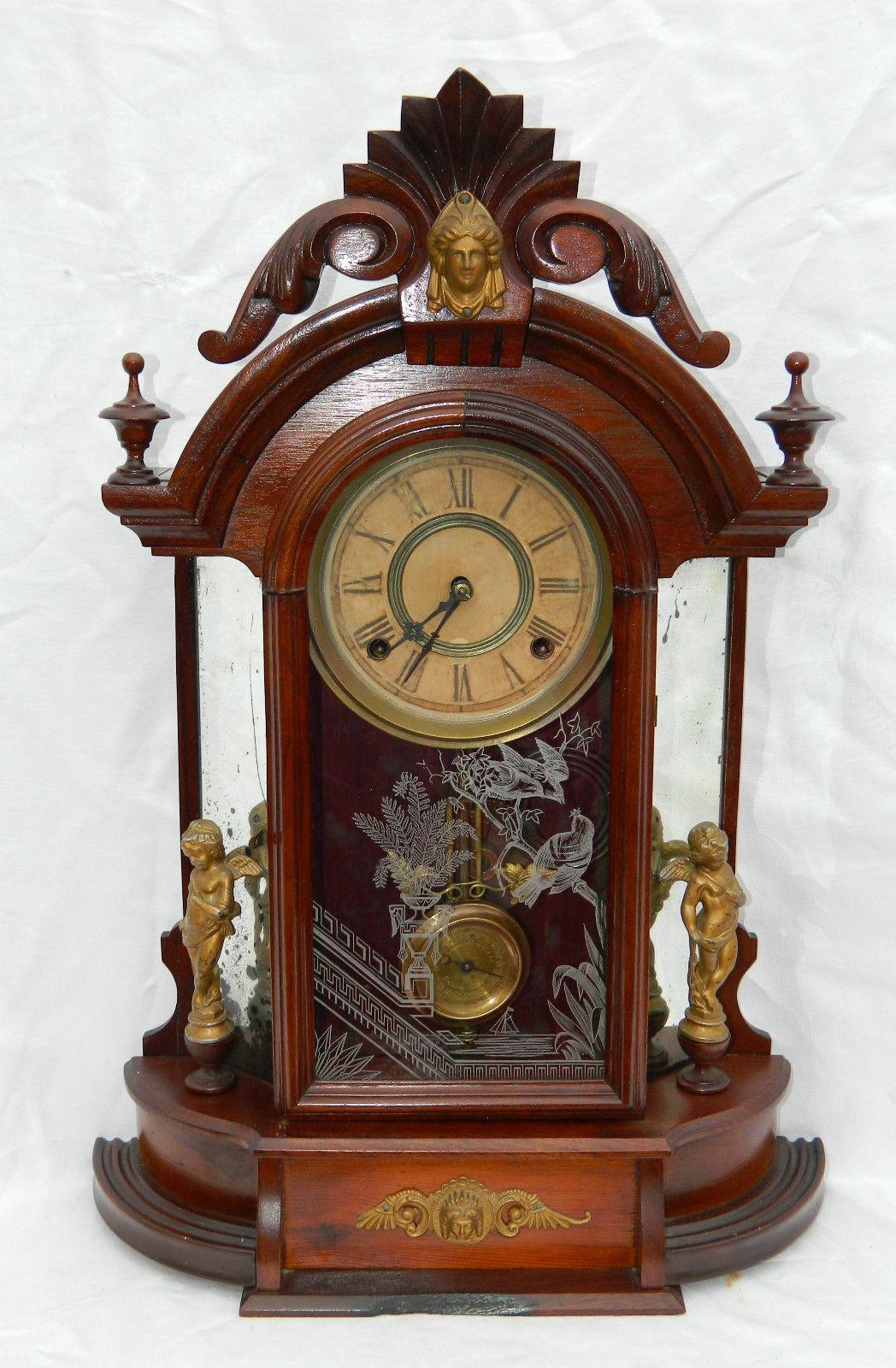 Stunning Victorian Walnut William L Gilbert Occidental Mirror