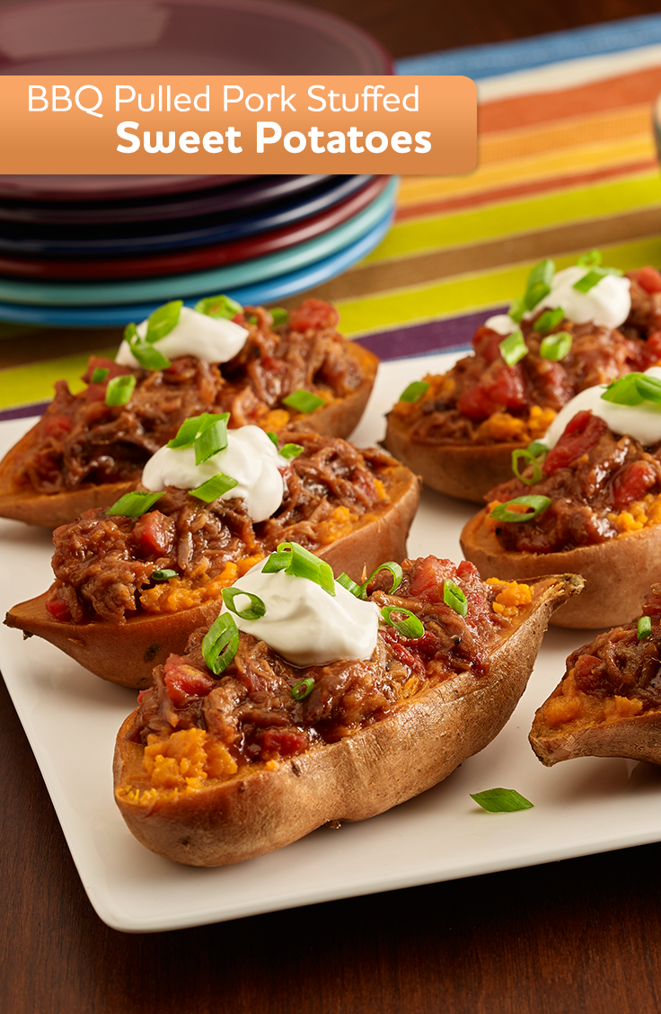 For a quick and delicious weeknight main dish, try our BBQ Pulled Pork Sweet Potatoes.