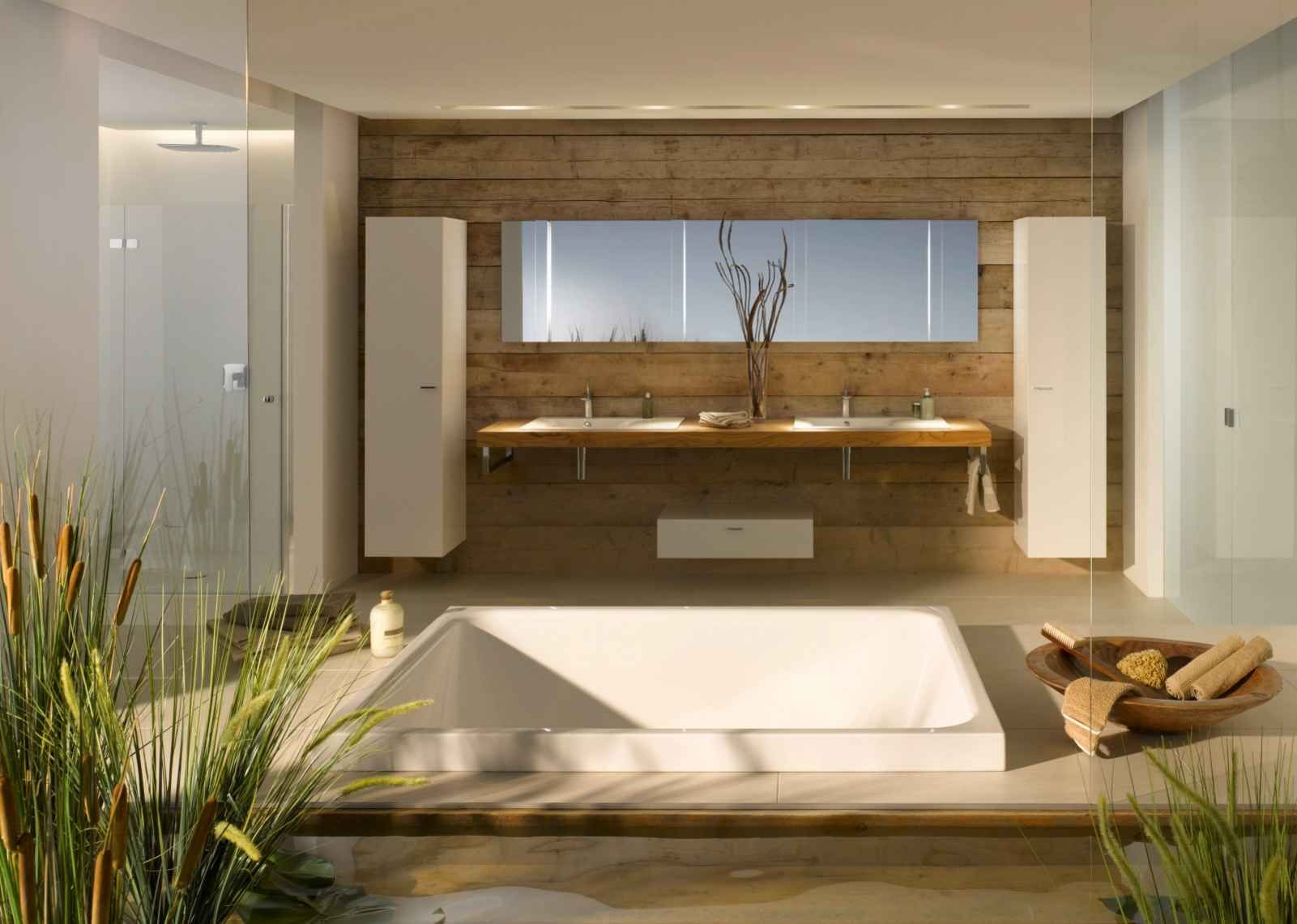 Bad ideen halbbäder recht badewanne bette spa im bad aus holz gestalten  bad ideen