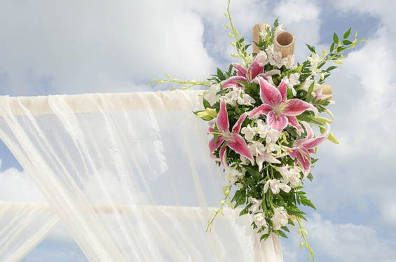 Lillies on the corner of the altar