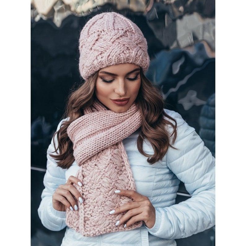 Hat Scarf Women Knit Hat Scarf Set Womens Wool Hat Set Cold Etsy Scarf Set Hat Scarf Combo Chunky Knit Hat