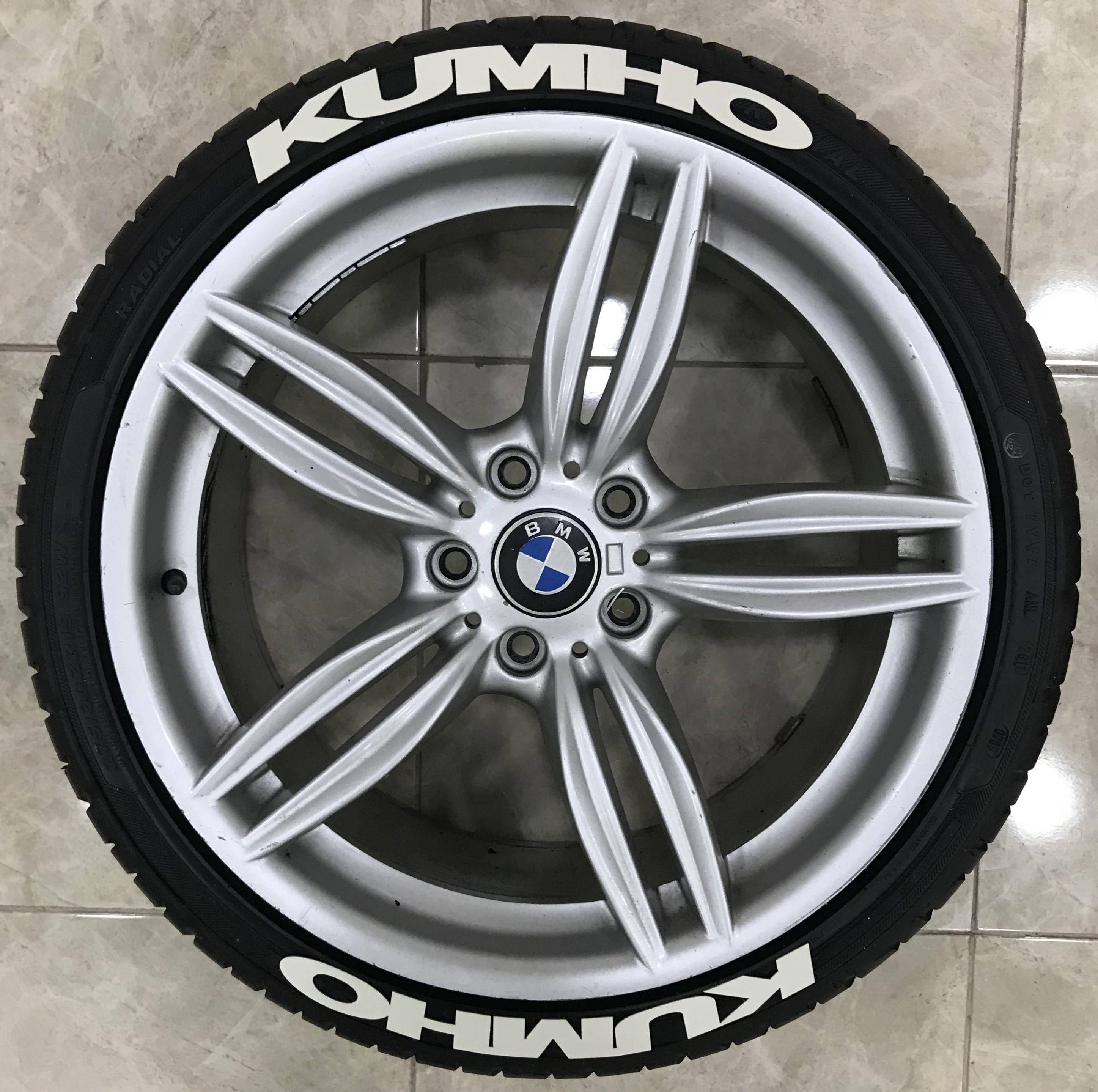 1 kumho rubber permanent tire letter 8 pcs 3d tire sticker kit