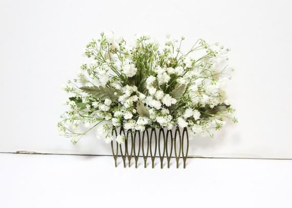 Baby's breath comb, bridal hair comb, dried flower haircomb, Bridesmaid gift, wedding head piece, white Floral comb, rustic wedding