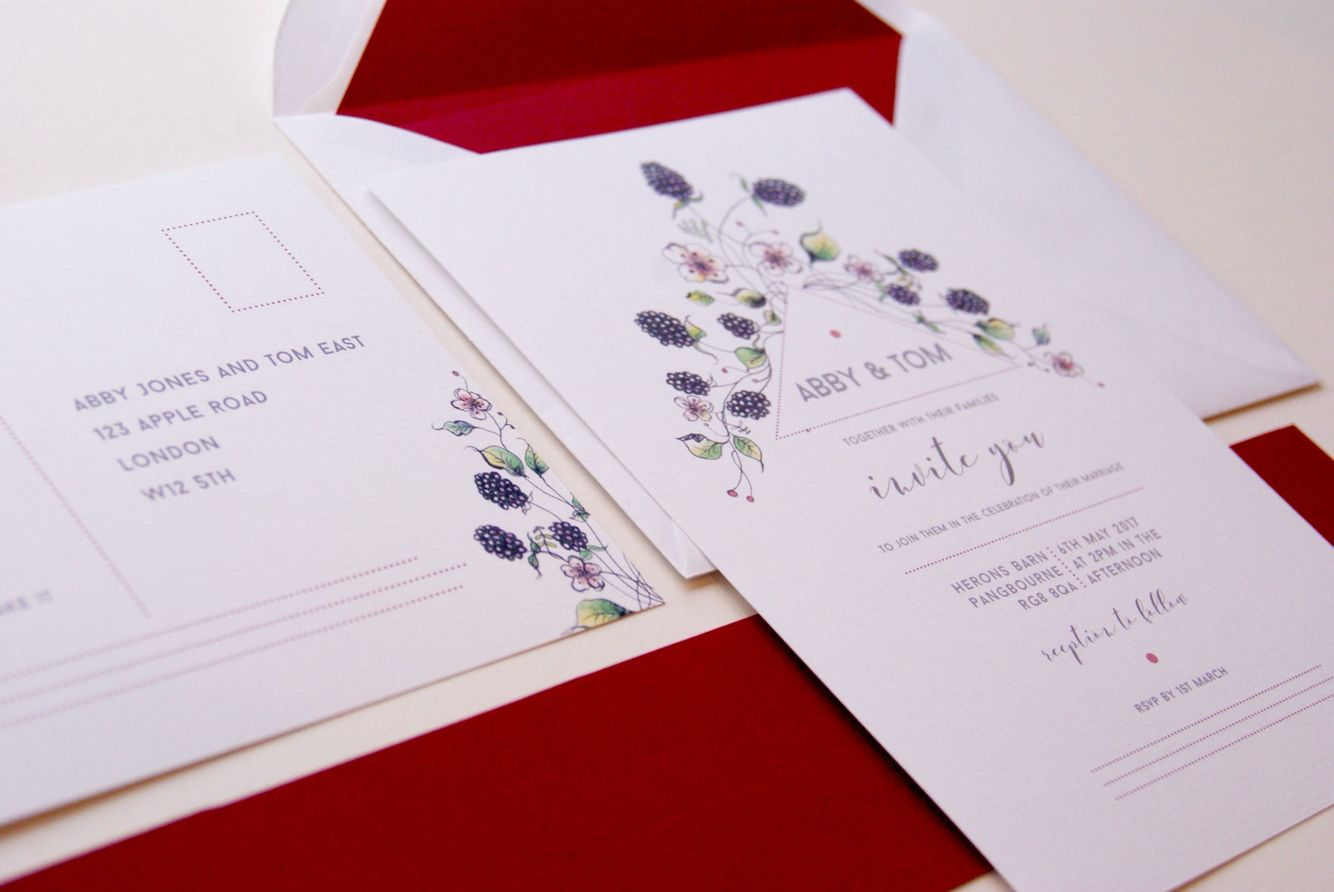 Autumn / Fall wedding stationery set. Berries, brambles and deep ...
