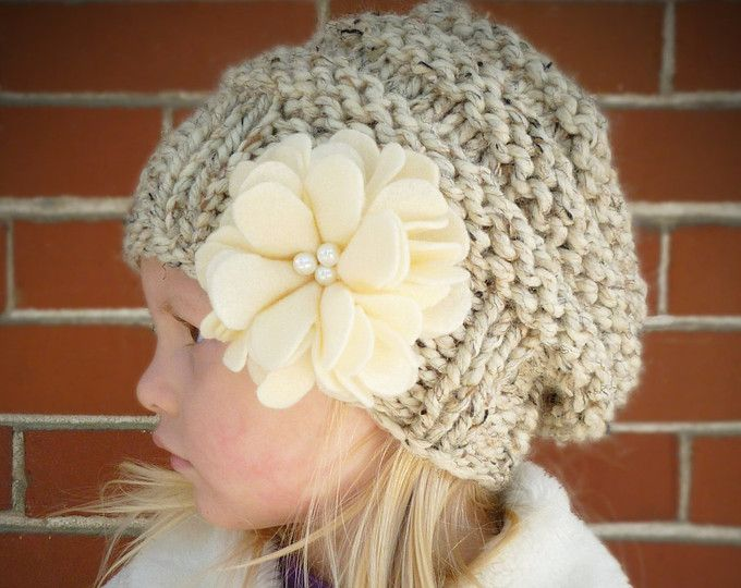 Slouchy Toddler Hat with Felt Flower & Pearls CHOOSE COLOR, Knit ...