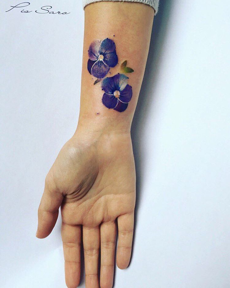 105 Sensational Watercolor Flower Tattoos Violet Tattoo Violet
