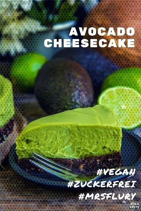 Avocado Cheesecake 2.0 - Mrs Flury -  Avocado cheesecake vegan, sugar-free, gluten-free free free