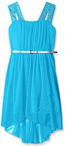 Amy Byer Big Girls' Sparkle Shoulder Tulip Front Dress >>> Click here for more details @