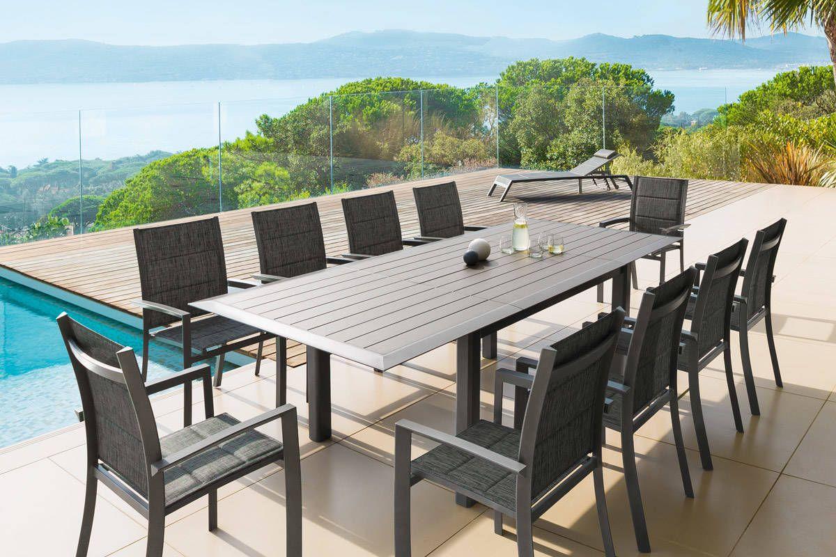 Effet Table Extensible Aluminium Allure 10 Places Bois Muscade dCstrhQ