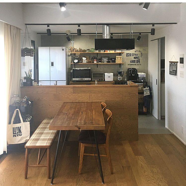 ダイニングテーブル カウンターキッチン カフェ風インテリア Instagram