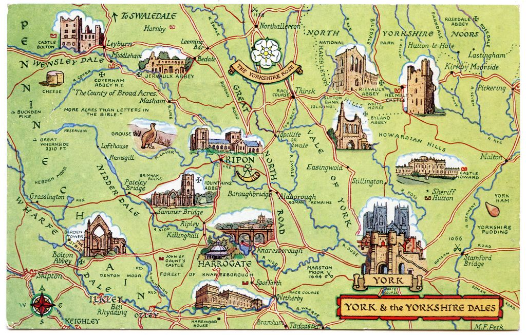 Postcard map of York and the Yorkshire Dales  Britain Yorkshire