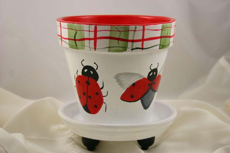 ladybug terracotta flower pot van helbut op etsy   schilderen/potten