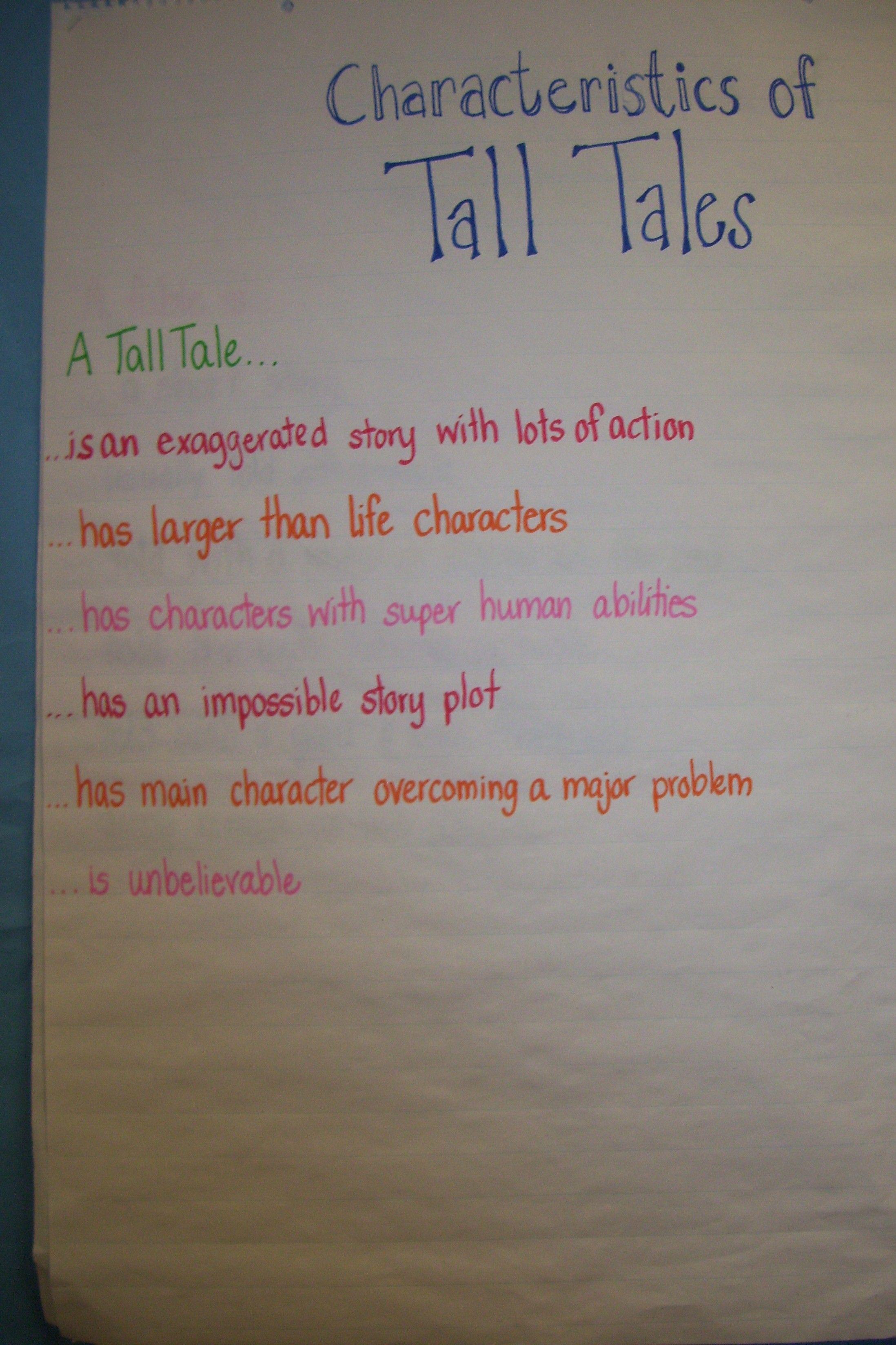 Characteristics Of Tall Tales Language Arts 4