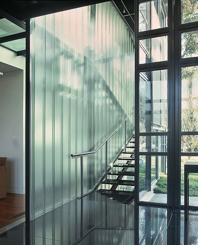 Palo Alto Residence Interior Stair Case Channel Glass