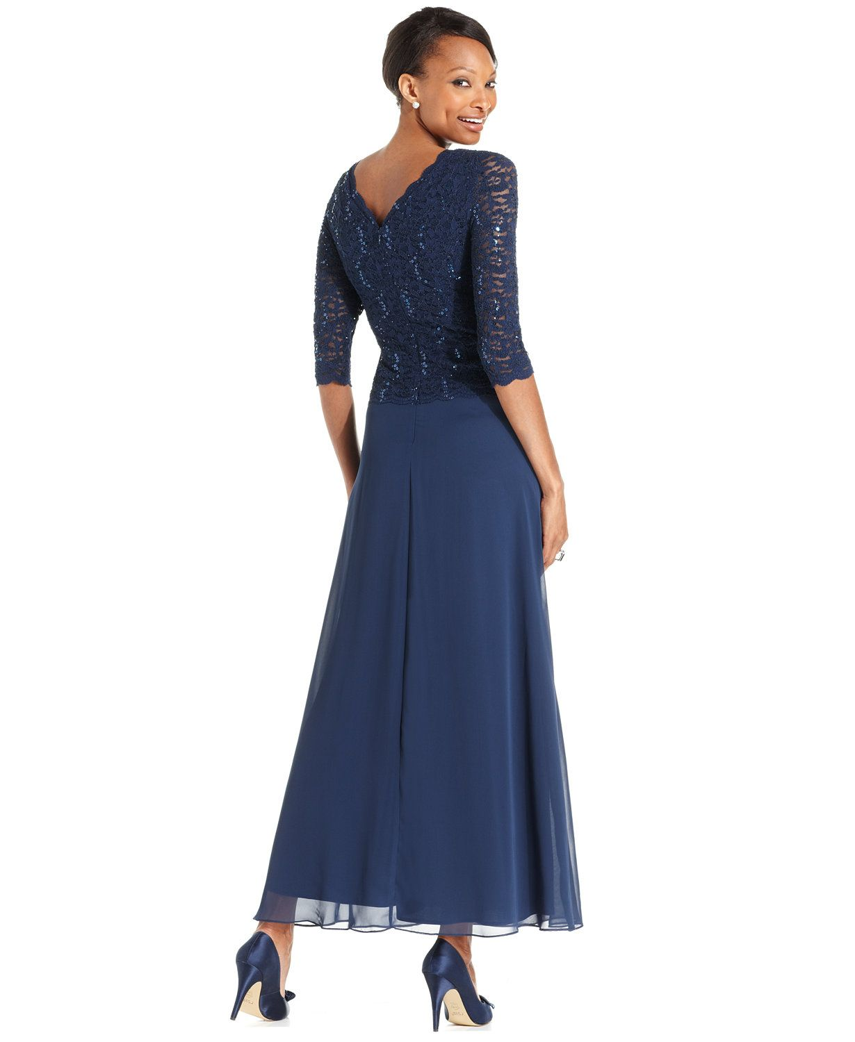 ff05667d73c Alex Evenings Elbow-Sleeve Sequined Lace Gown