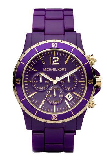 9f97a838a468 Michael Kors  Madison  Resin Chronograph Watch purple