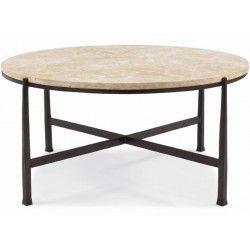 "Bernhardt Duncan Round Stone Top Cocktail Table 40"" diam"