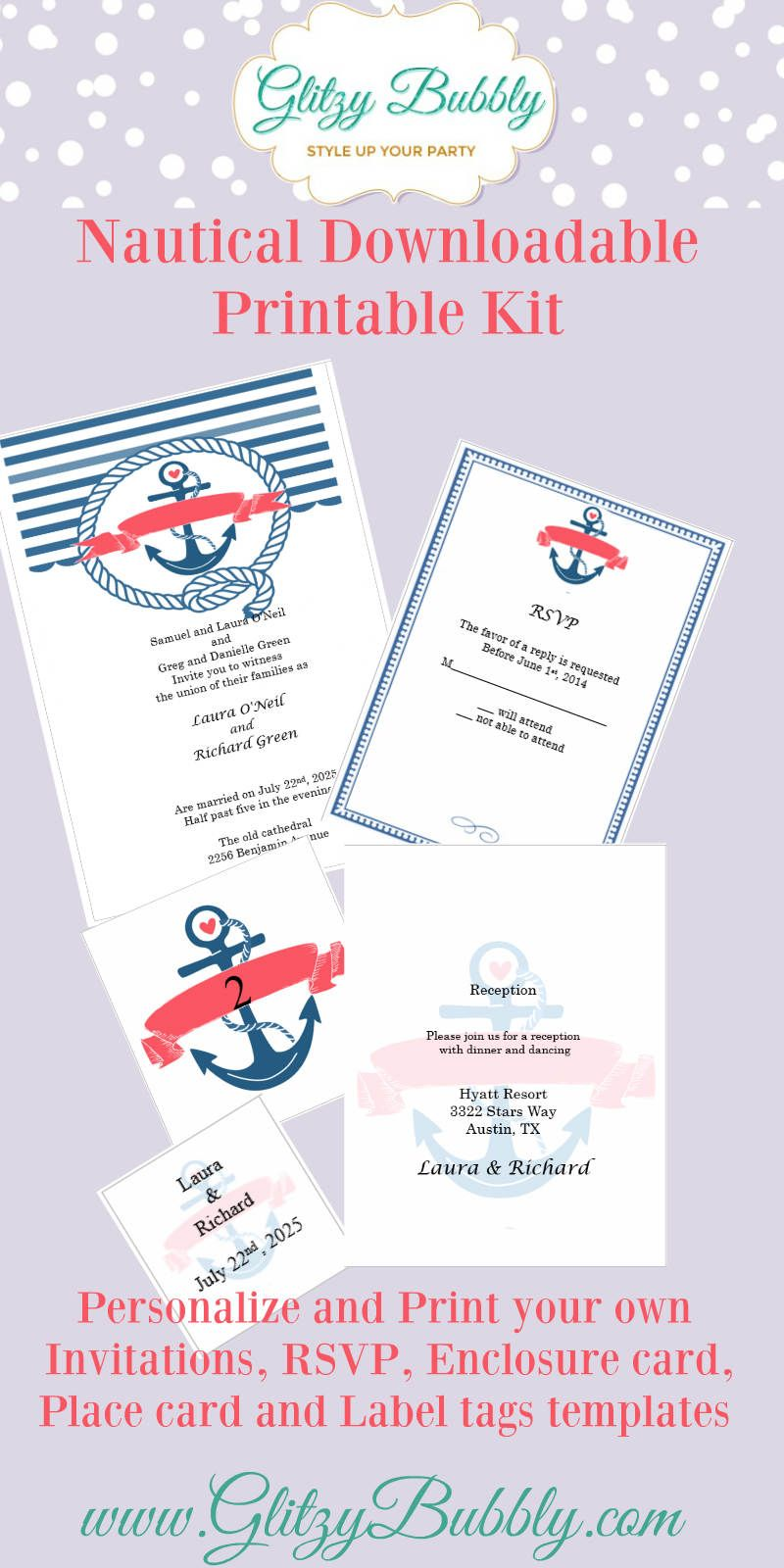 Download your free nautical wedding invitation template at Creative ...