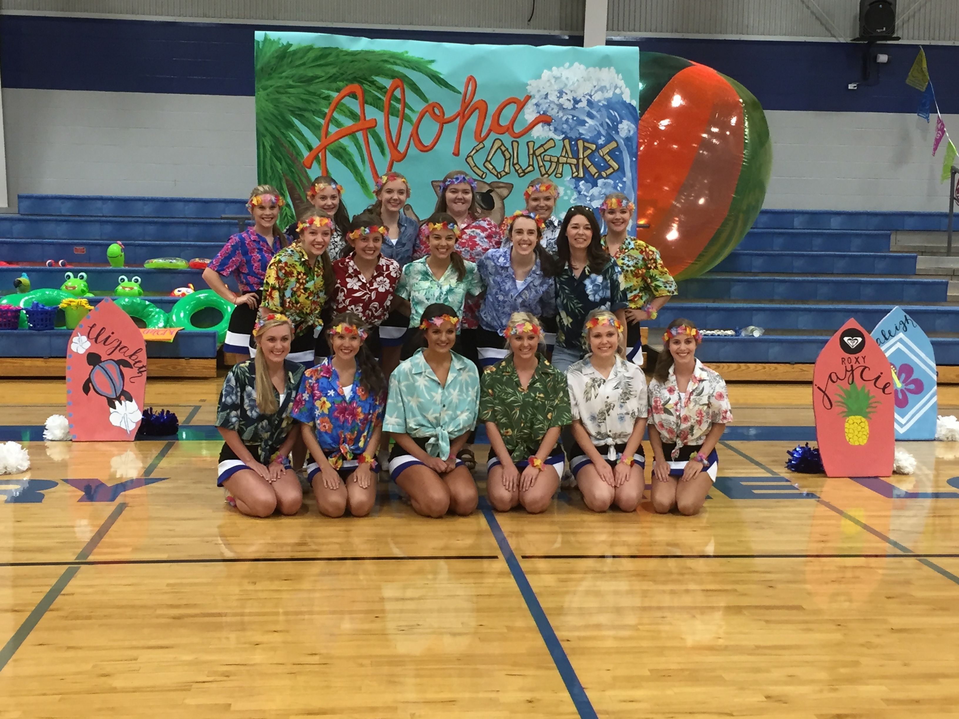 Hawaiian themed pep rally 82616 cheer team picture gcs