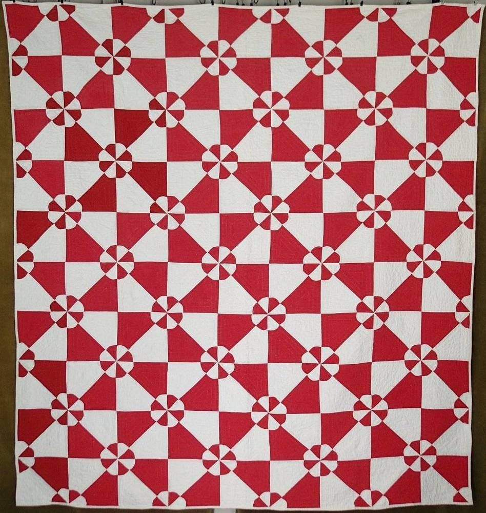 Oh My! Fabulous Antique c1920 Red & White Hearts and Gizzards QUILT ...