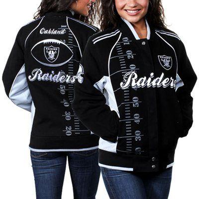 eb931354 Oakland Raiders Ladies Franchise Twill Jacket - Black/Silver   100 ...