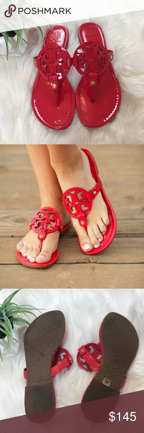 4524ee07b Tory Burch Red Patent Miller Sandals Size 7 Tory Burch Red patent leather  miller sandals size 7. Excellent condition. Open to offers and 30% off  bundles!