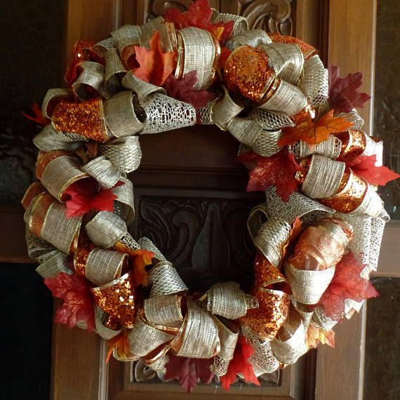 Photo of Fall Door Decor/Autumn Wreath/Mabon Decoration/Wiccan Wreath/Pagan Wreath/Thanksgiving Wreath/Color Orange/Ribbon Wreath