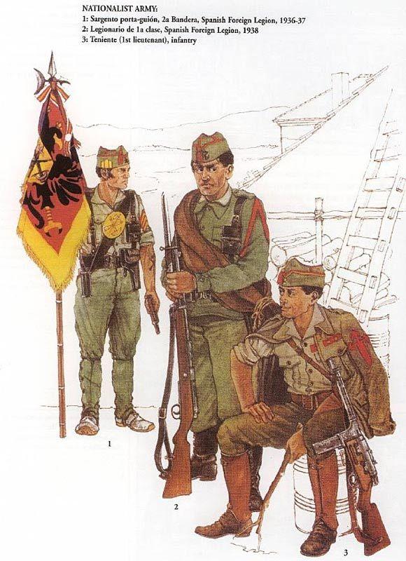 Esercito Nazionalista - 1 Sergente Alfiere, 2a Bandera Legione Straniera Spagnola, 1936-37 - 2 Legionario di prima classe, Legione Straniera Spagnola, 1938 - 3 Tenente di Fanteria