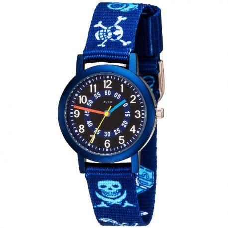 Blaue Kinderuhr mit Textilarmband und Totenkopf-Motiv