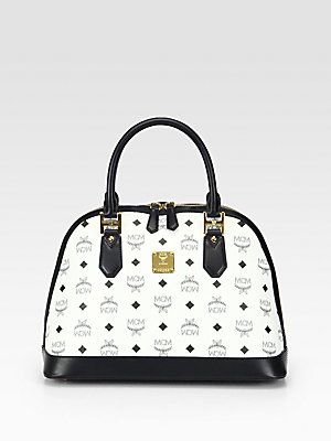 1e883b86a00f I love the black white simplicity of this pattern. MCM Heritage Coated  Canvas Medium Bowler Bag