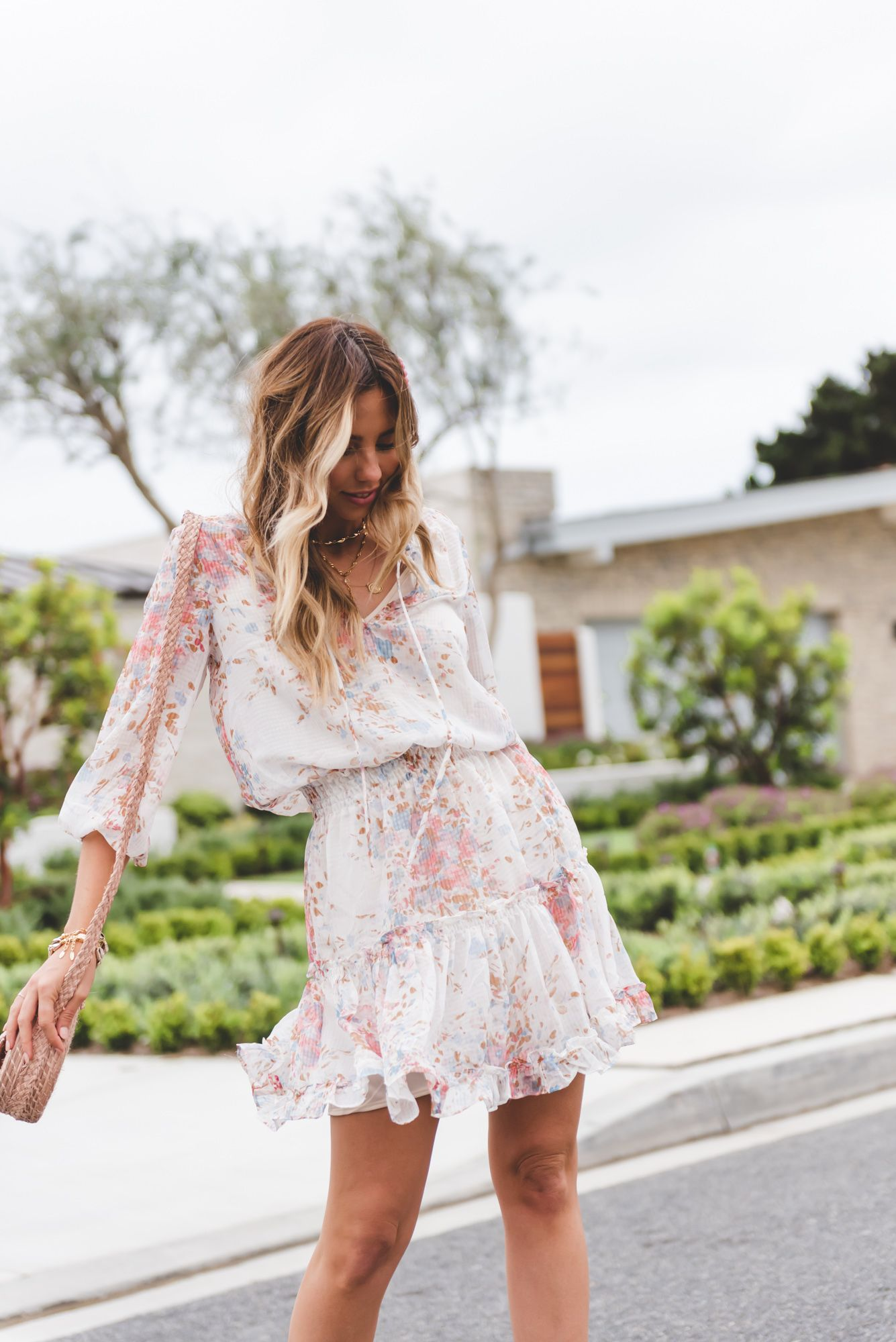 How To Give Florals A Cool Girl Update Style Report Magazine Bridal Shower Attire Bridal Shower Guest Outfit Bridal Shower Outfit [ 2000 x 1335 Pixel ]
