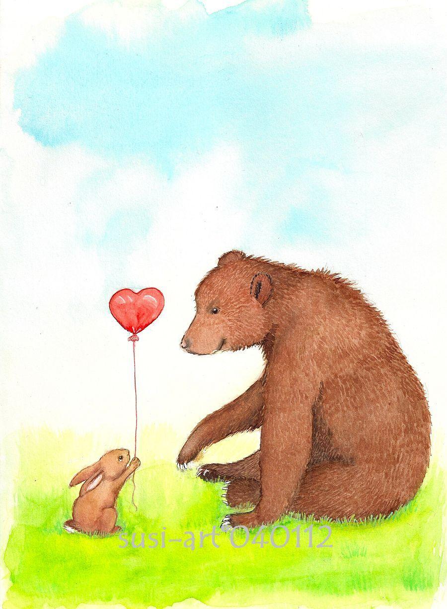 Открытки медвежонок и зайчонок, открытку крючком профсоюзная