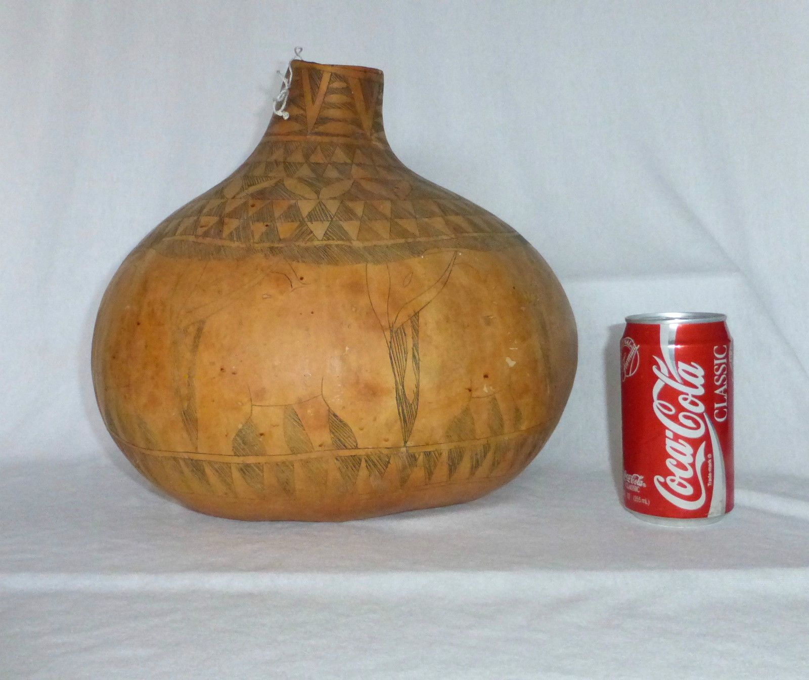 Details about Large Vintage African Etched Calabash Gourd