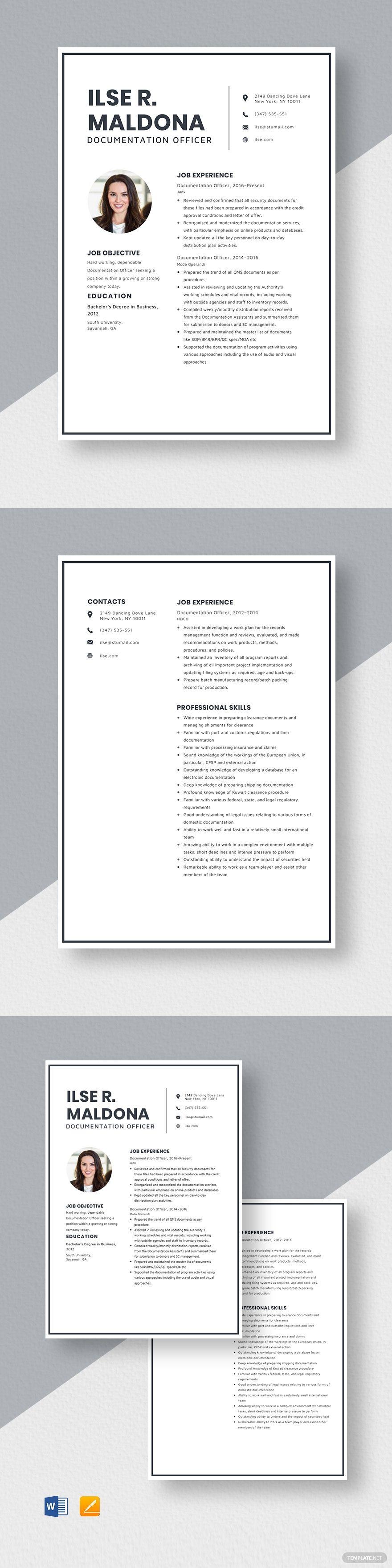 Documentation officer resume resume design template