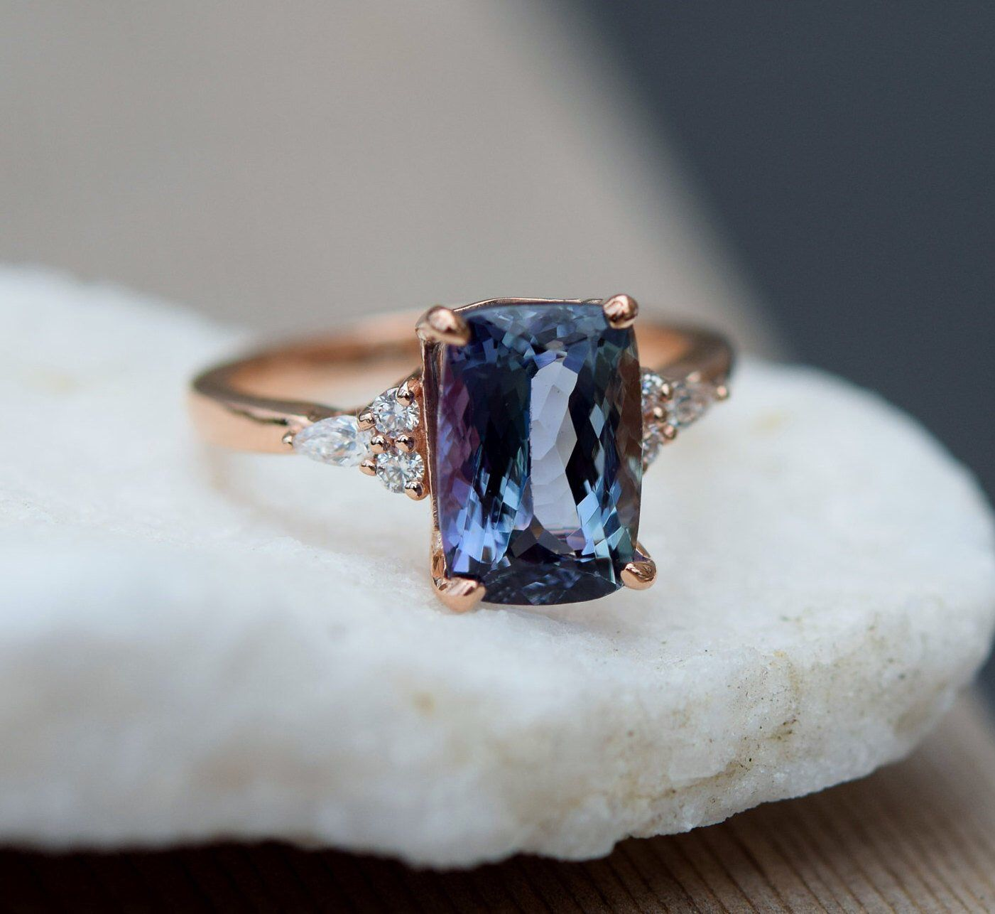 Teal tanzanite engagement ring. Peacock blue tanzanite 5.3ct cushion diamond ring 14k rose gold. Campari Engagement ring by Eidelprecious