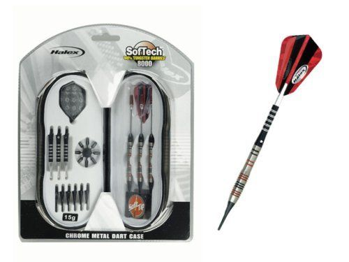 Halex SofTech 8000 Soft Tip Dart Set by Halex. $19.99. Halex SofTech¿ 8000 Soft Tip Dart Set includes: two each 13g, 15g and 17g soft tips; two sets of deluxe shafts; eight flight protectors; a 2-in-1 dart tool, and six spare SofTech¿ tips.  Unique chrome-silver finish metal carry case holds all pieces in a clean, clear, organized way.
