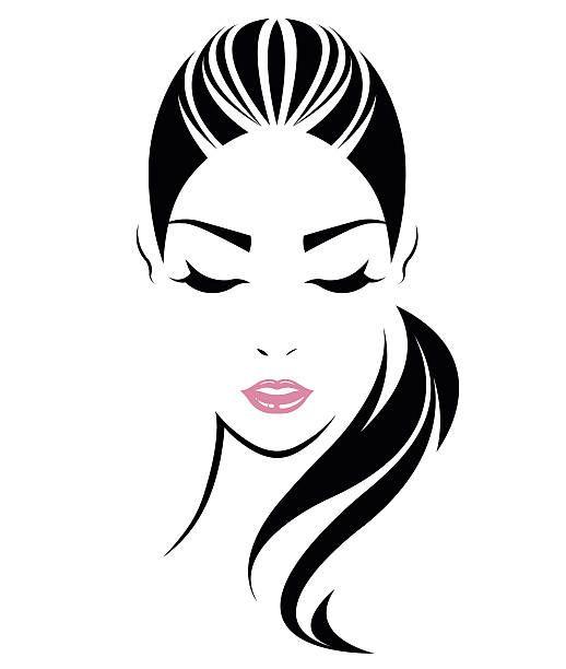 Women Long Hair Style Icon Logo Women Face Vector Art Illustration