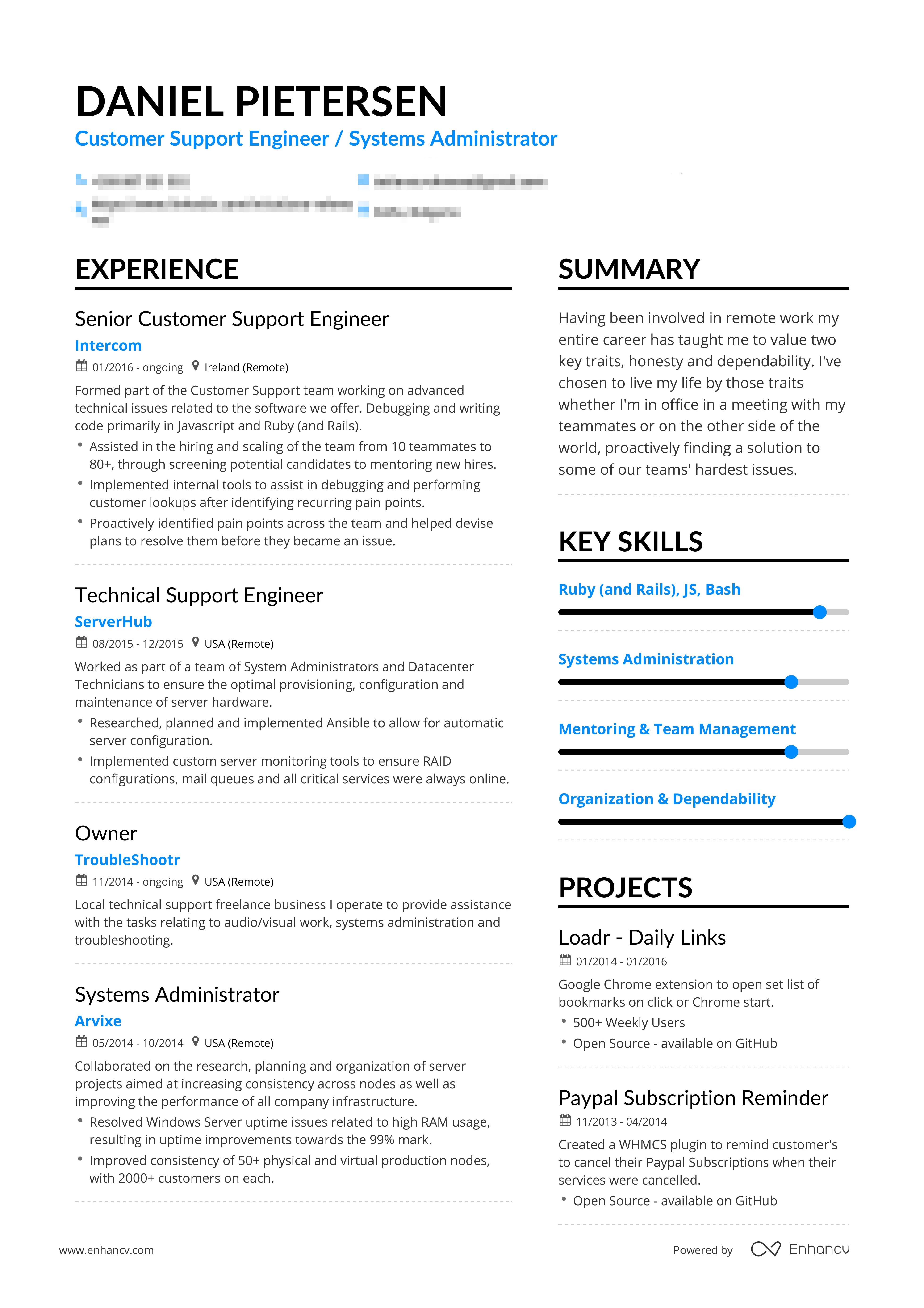 Example of successful customer support engineer resume
