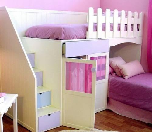 Cama camarote con escalera lateral con cajones y armario for Dormitorios para ninas villa el salvador