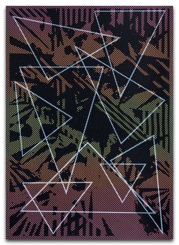 JULIA DAULT  Follow The Holograms, 2015 PRINT Screenprint on Somerset Satin (300gsm) paper with screenprint on Peregrina Tungsten Fractal (290gsm) paper applied by chine-collé; Holograms 4 is composed of Screenprint on Somerset Satin (300gsm) paper with screenprint on Peregrina Anthracite Fractal (290gsm) paper applied by chine-collé  31.30 x 22.24 in 79.5 x 56.5 cm This work is signed and numbered by the artist on verso.