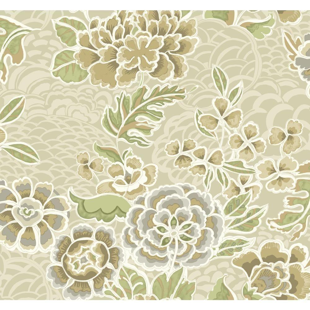 60 75 Sq Ft Global Chic Zen Garden Wallpaper Zen Garden Botanical Wallpaper Waverly Wallpaper